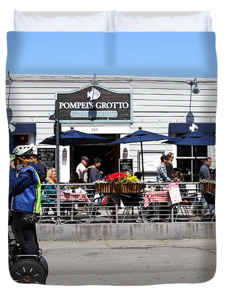 Segway Patrol At Pompeis Grotto Restaurant . Fishermans Wharf . San Francisco California . 7d14198 Duvet Cover by Wingsdomain Art and Photography