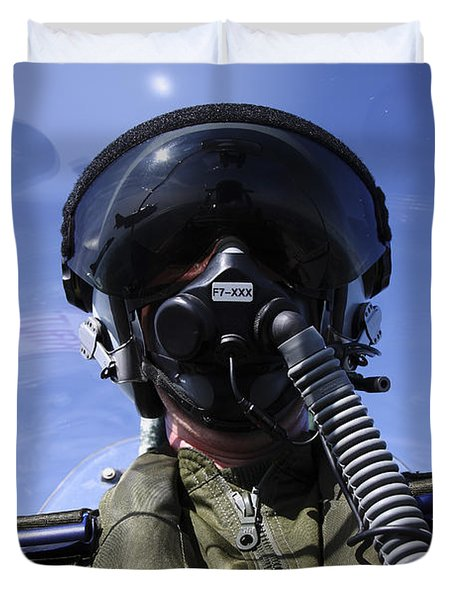 Self-portrait Of A Pilot Flying Duvet Cover by Daniel Karlsson