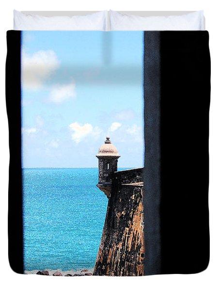 Sentry Tower View Castillo San Felipe Del Morro San Juan Puerto Rico Ink Outlines Duvet Cover by Shawn O'Brien