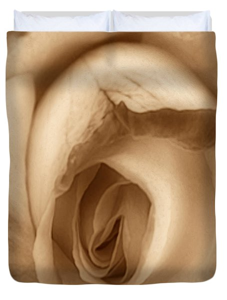 Sepia Petals Duvet Cover by Cheryl Young