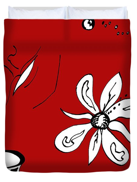 Serenity In Red Duvet Cover by Mary Mikawoz