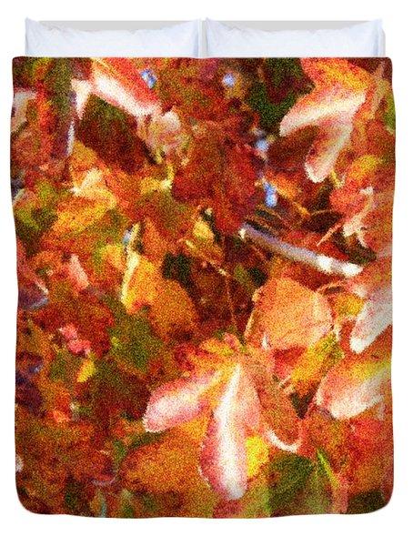 Seurat-like Fall Leaves Duvet Cover by Carol Groenen