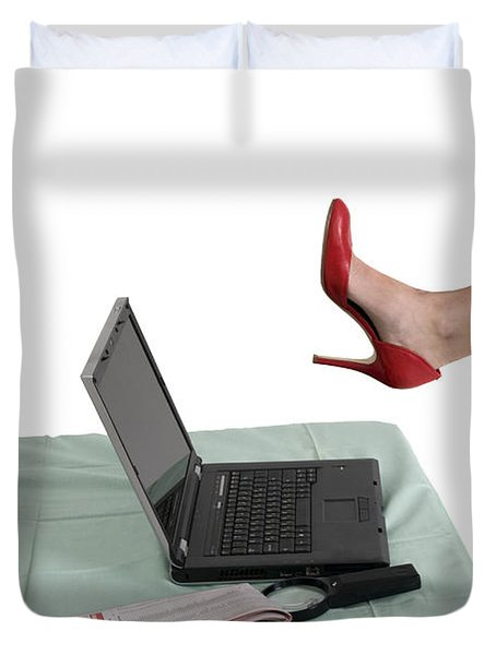 Sexy Woman Kicks A Laptop  Duvet Cover by Ilan Rosen