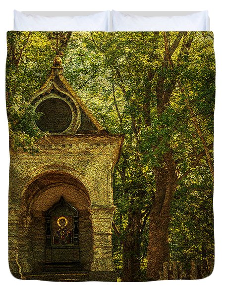 Shaded Chapel. Golden Green Series Duvet Cover by Jenny Rainbow