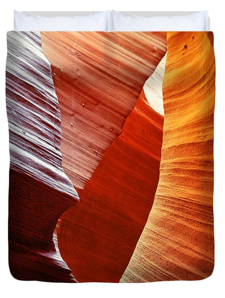 Shades Of Red - Antelope Canyon Az Duvet Cover by Christine Till