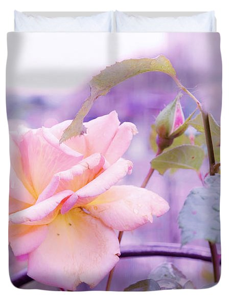 She Like The Ghost Beside Me. Scottish Rose Duvet Cover by Jenny Rainbow