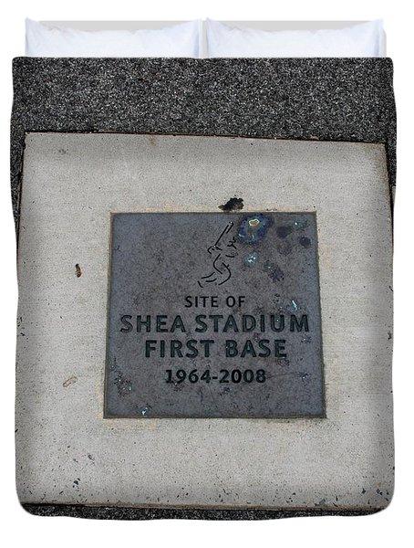 Shea Stadium First Base Duvet Cover by Rob Hans
