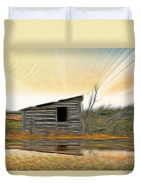 Shed In The Field Duvet Cover by Vickie Emms