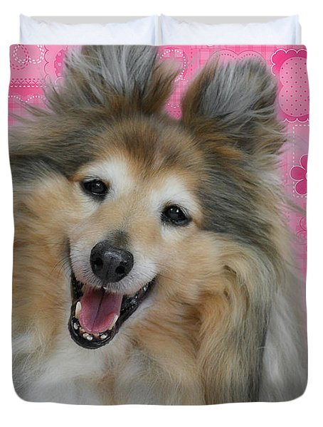 Sheltie Smile Duvet Cover by Christine Till