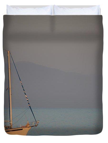 Ship In Warm Light Duvet Cover by Ralf Kaiser