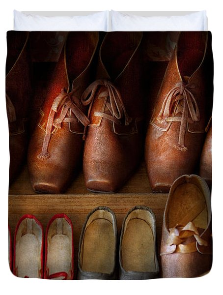 Shoemaker - Shoes Worn In Life Duvet Cover by Mike Savad