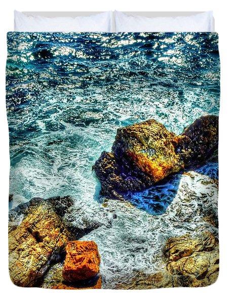 Shores Of The Aegean Duvet Cover by Michael Garyet