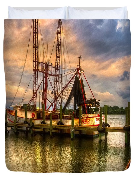 Shrimp Boat at Sunset Duvet Cover by Debra and Dave Vanderlaan