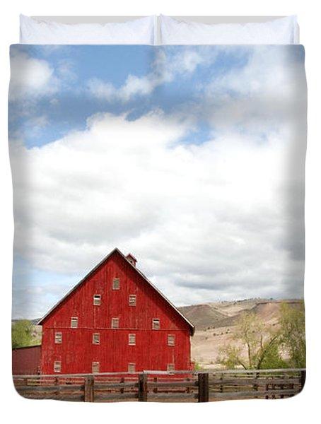 Shutters Red Duvet Cover by Sara Stevenson