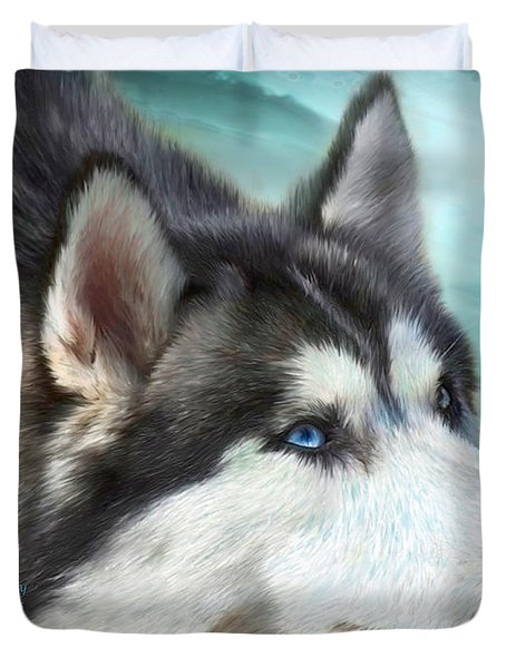 Siberian Husky Duvet Cover by Carol Cavalaris