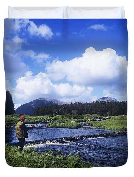 Side Profile Of A Man Fly-fishing In A Duvet Cover by The Irish Image Collection