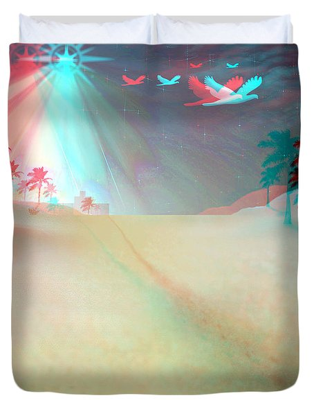 Silent Night - Red And Cyan 3d Glasses Required Duvet Cover by Brian Wallace