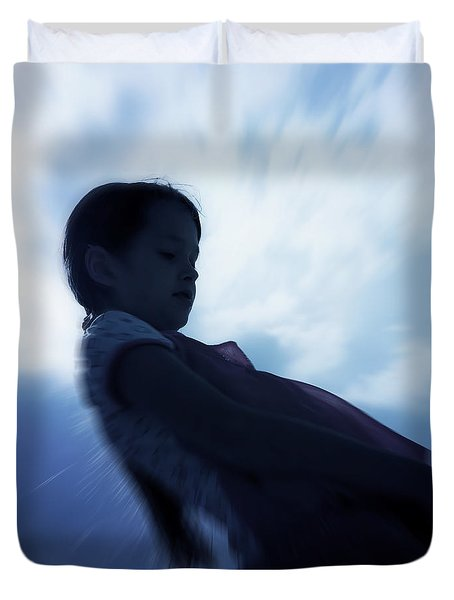 silhouette of a girl against the sky Duvet Cover by Joana Kruse