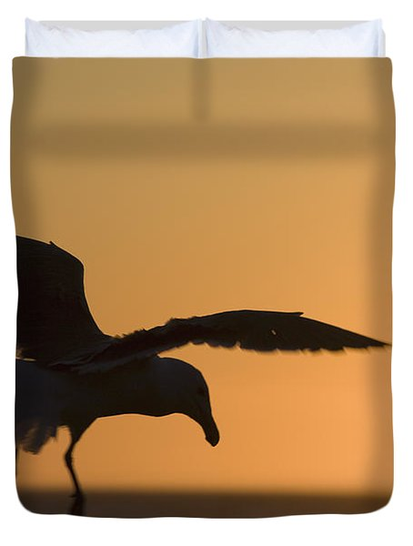 Silhouette Of A Seagull In Flight At Duvet Cover by Michael Interisano
