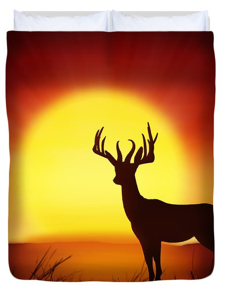 Silhouette Of Deer With Big Sun Duvet Cover by Setsiri Silapasuwanchai
