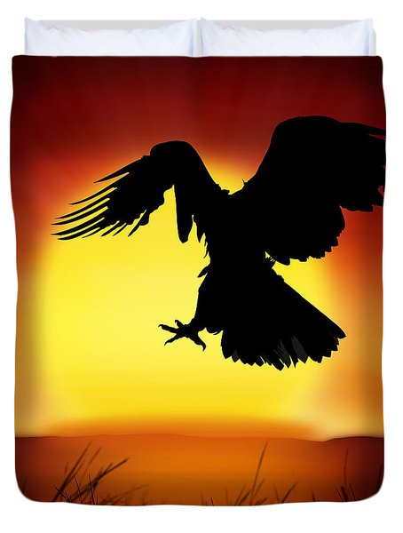 Silhouette Of Eagle Duvet Cover by Setsiri Silapasuwanchai