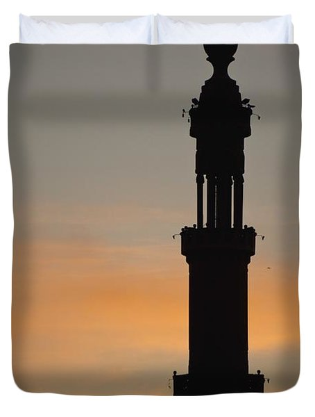 Silhouette Of Mosque At Dawn Duvet Cover by Axiom Photographic