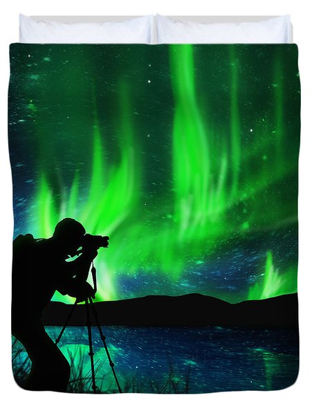 silhouette of photographer shooting stars Duvet Cover by Setsiri Silapasuwanchai