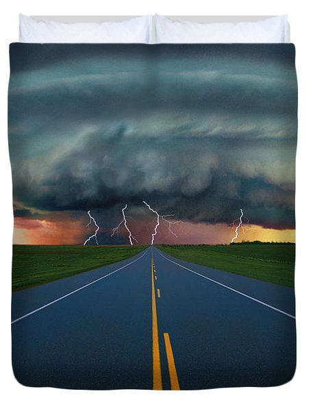 Single Lane Road Leading To Storm Cloud Duvet Cover by Don Hammond
