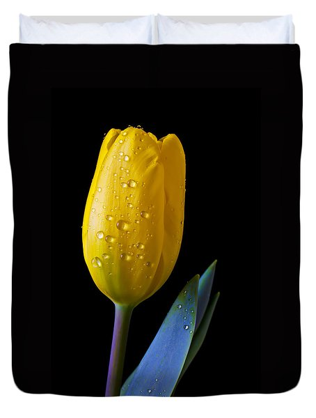 Single Yellow Tulip Duvet Cover by Garry Gay