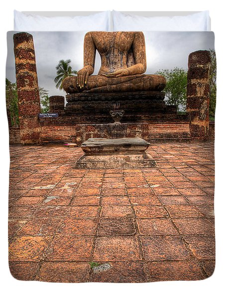 Sitting Buddha Duvet Cover by Adrian Evans
