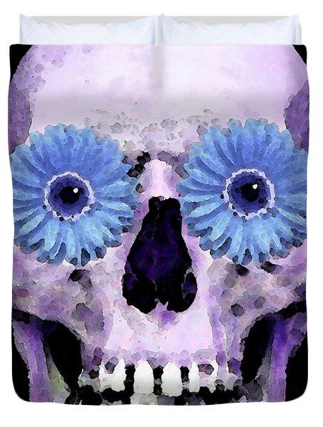 Skull Art - Day Of The Dead 3 Duvet Cover by Sharon Cummings