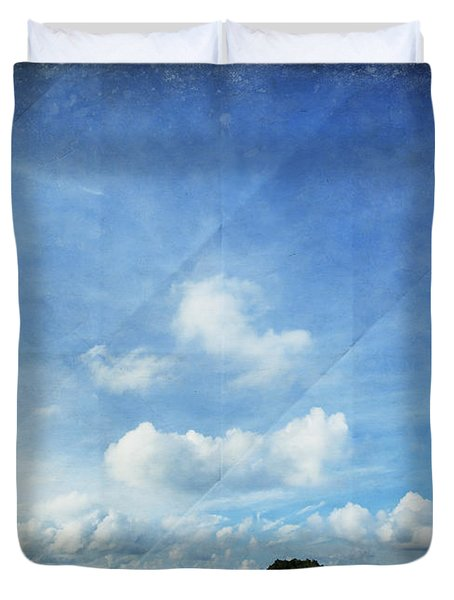 Sky And Cloud On Old Paper Duvet Cover by Setsiri Silapasuwanchai