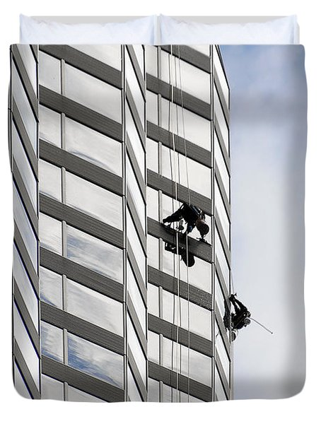 Skyscraper Window-washers - Take A Walk In The Clouds Duvet Cover by Christine Till