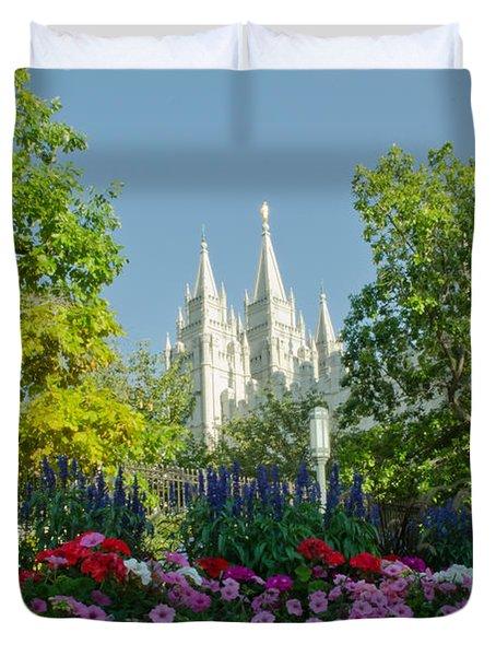 Slc Temple Flowers Duvet Cover by La Rae  Roberts