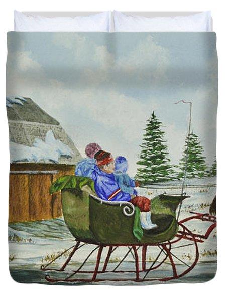 Sleigh Ride Duvet Cover by Charlotte Blanchard
