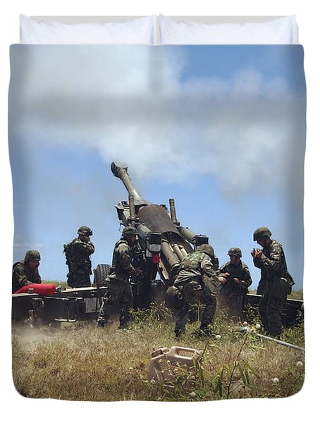 Smoke Fills The Air As Marines Fire Duvet Cover by Stocktrek Images