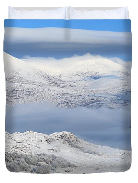 Snow Covered Landscape In Winter Near Duvet Cover by Peter Zoeller