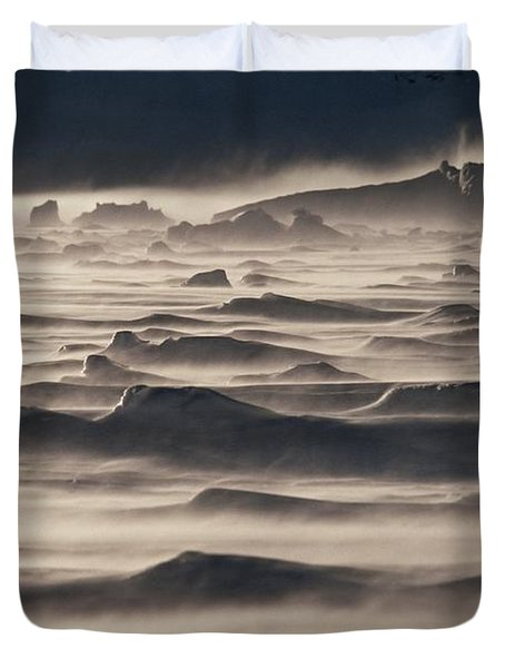 Snow Drift Over Winter Sea Ice Duvet Cover by Antarctica
