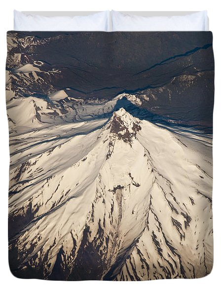 Snowcovered Volcano Andes Chile Duvet Cover by Colin Monteath