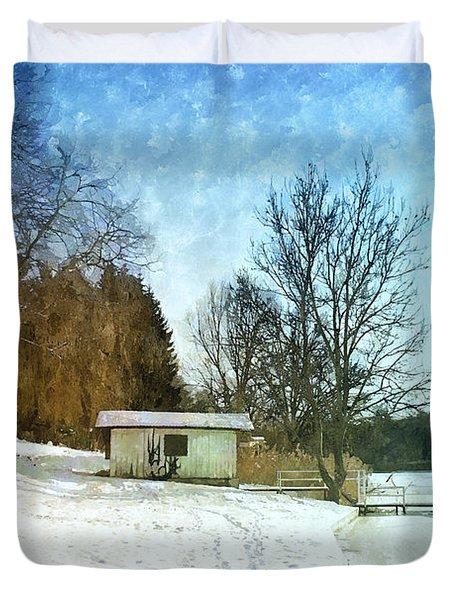 Snowy Beach Duvet Cover by Jutta Maria Pusl