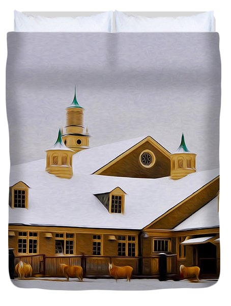 Snowy Day at Erdenheim Farm Duvet Cover by Bill Cannon