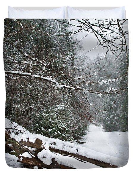 Snowy Fence Duvet Cover by Debra and Dave Vanderlaan