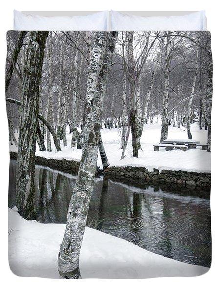Snowy Park Duvet Cover by Carlos Caetano