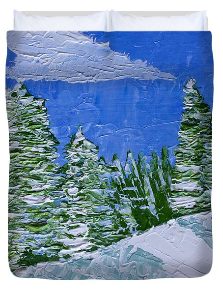 Snowy Pines Duvet Cover by Heidi Smith