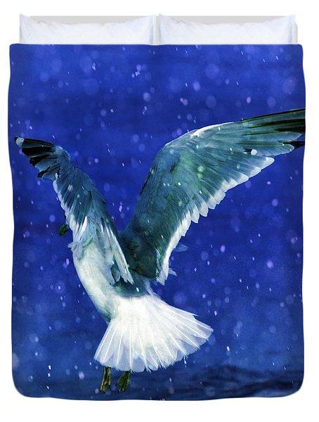 Snowy Seagull Duvet Cover by Debra  Miller