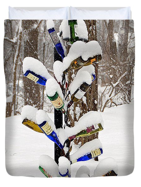 Snowy Wine Bottle Sculpture Duvet Cover by Aimee L Maher Photography and Art Visit ALMGallerydotcom