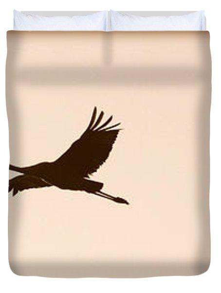 Soaring Sandhills Silhouette Duvet Cover by Carol Groenen