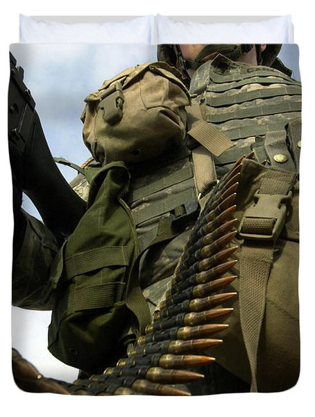Soldier Mans A Vehicle Mounted 7.62 Mm Duvet Cover by Stocktrek Images