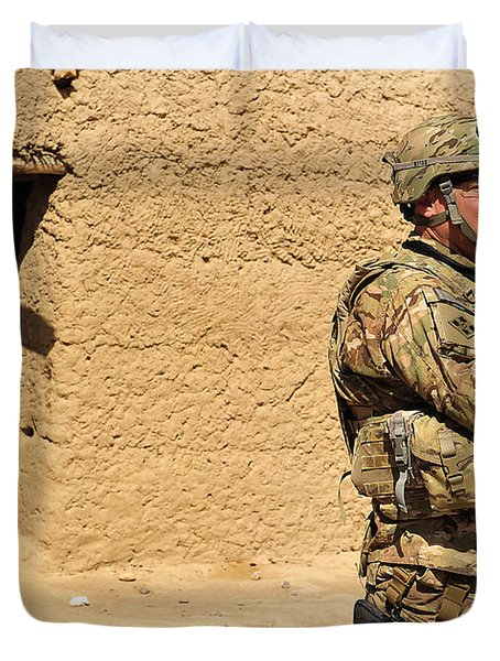 Soldier Stands Guard During A Routine Duvet Cover by Stocktrek Images