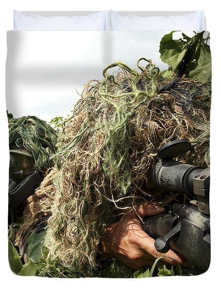 Soldiers Dressed In Ghillie Suits Duvet Cover by Stocktrek Images